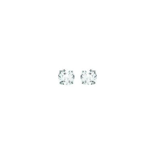 Boucles d'oreilles OR blanc 750/1000e oxydes zirconium D.5mm 0.50grs