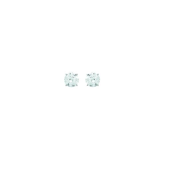 Boucles d'oreilles OR blanc 750/1000e oxydes zirconium D.4mm 0.40grs