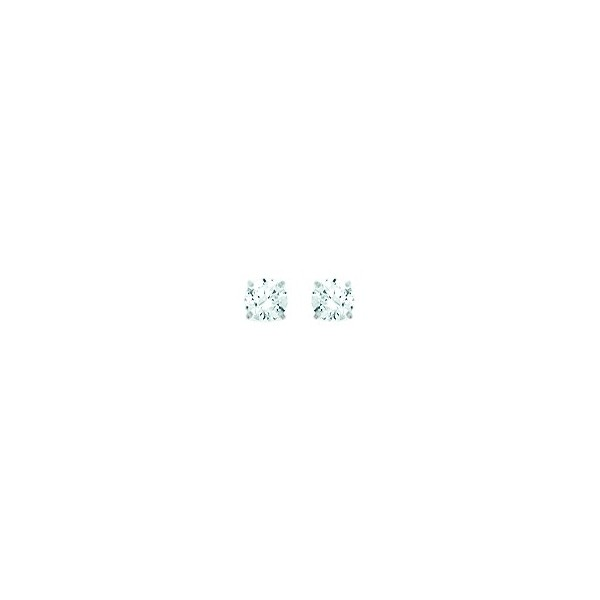 Boucles d'oreilles OR blanc 750/1000e oxydes zirconium D.3.5mm 0.35grs