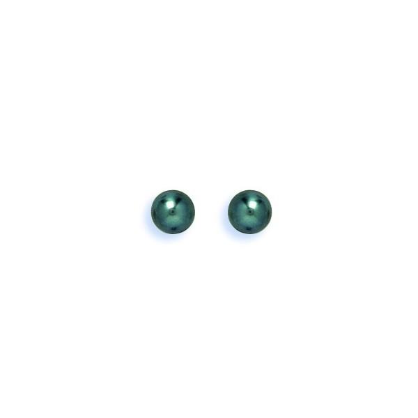 Boucles d'oreilles OR 750/1000e perles de culture noir D.5.5-6 mm  0.30grs