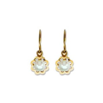 Boucles d'oreilles OR 750/1000e perles de culture 0.65grs
