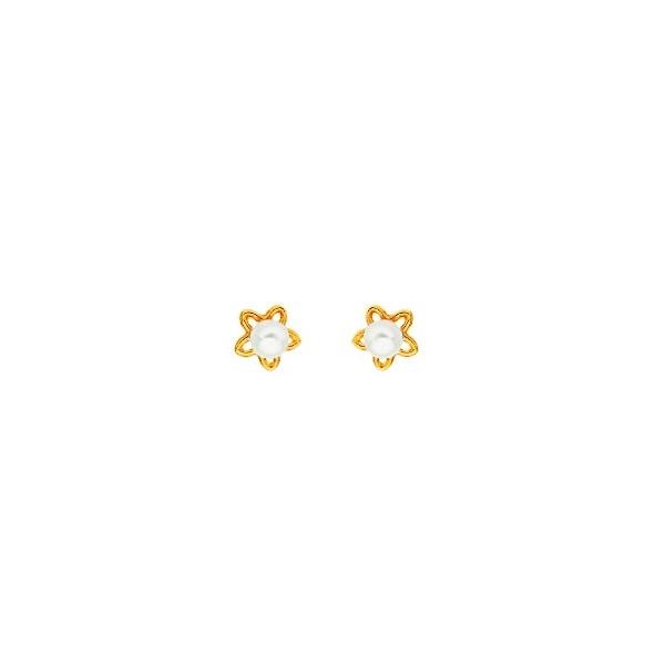 Boucles d'oreilles OR 750/1000e perles de culture 0.35grs
