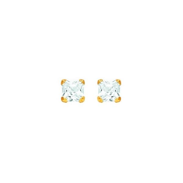 Boucles d'oreilles OR 750/1000e oxydes zirconium carrés 6mm 0.60grs