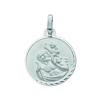 Médaille saint-christophe Or blanc 750/1000e ronde D.14mm 1.30grs