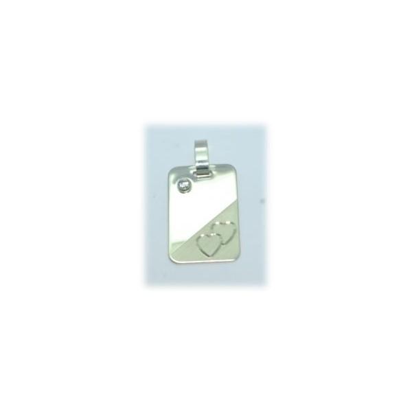 Plaque argent 925/1000e 16x25mm 3.80grs avec oxyde et deux coeurs