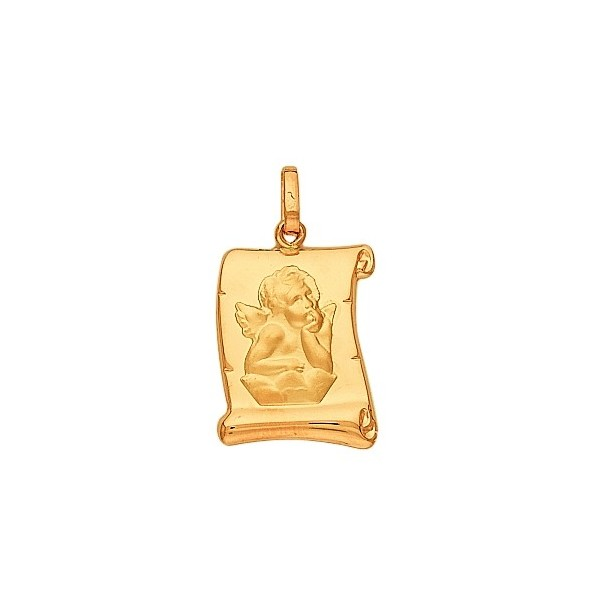 Médaille ange or 750/1000e  parchemin 12x16mm 0.90grs