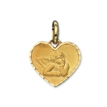 Médaille ange coeur or  750/1000e 12x14mm 0.90grs
