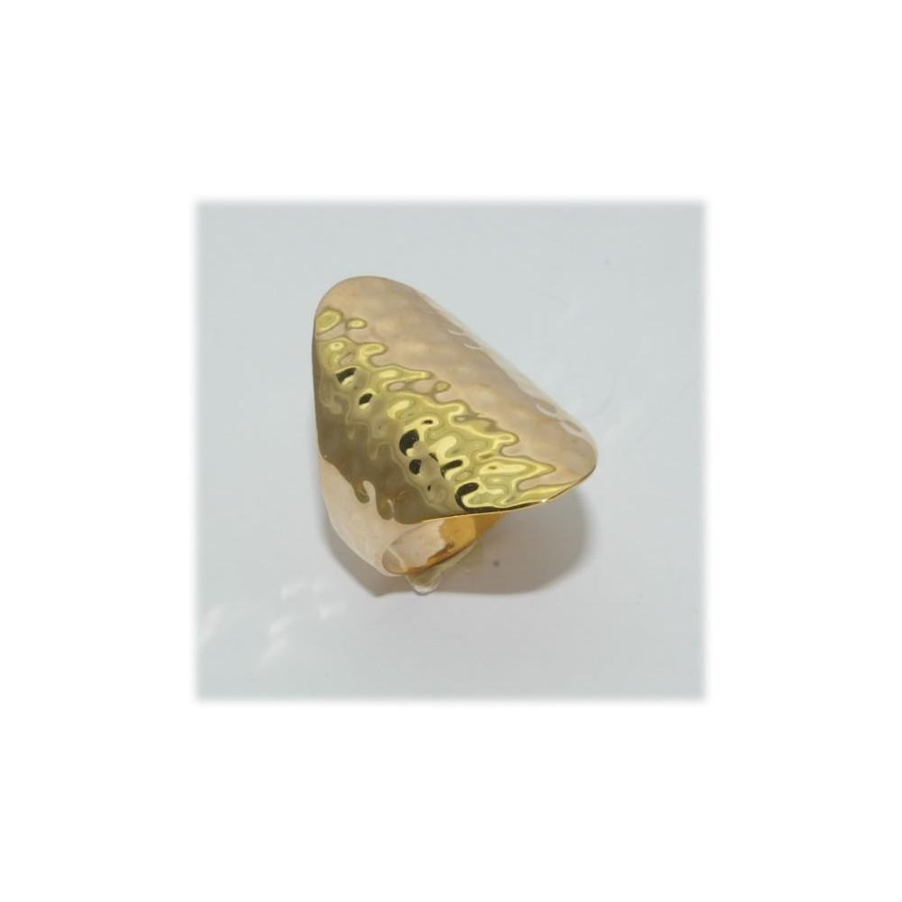 Fabuleux Bague plaqué or martelée largeur 11mm - D'Or et d'Argent JG16