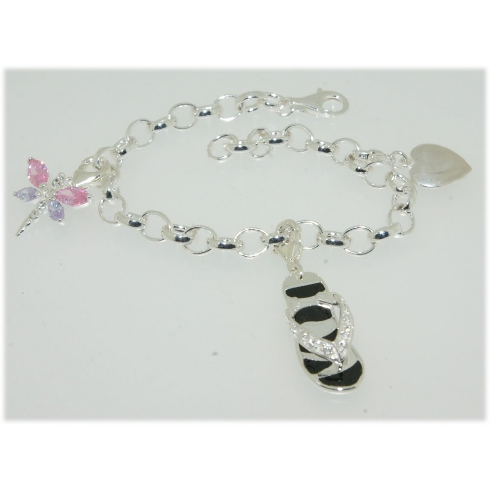 bracelet charm 39 s argent avec trois pendentifs 18cm 16grs. Black Bedroom Furniture Sets. Home Design Ideas