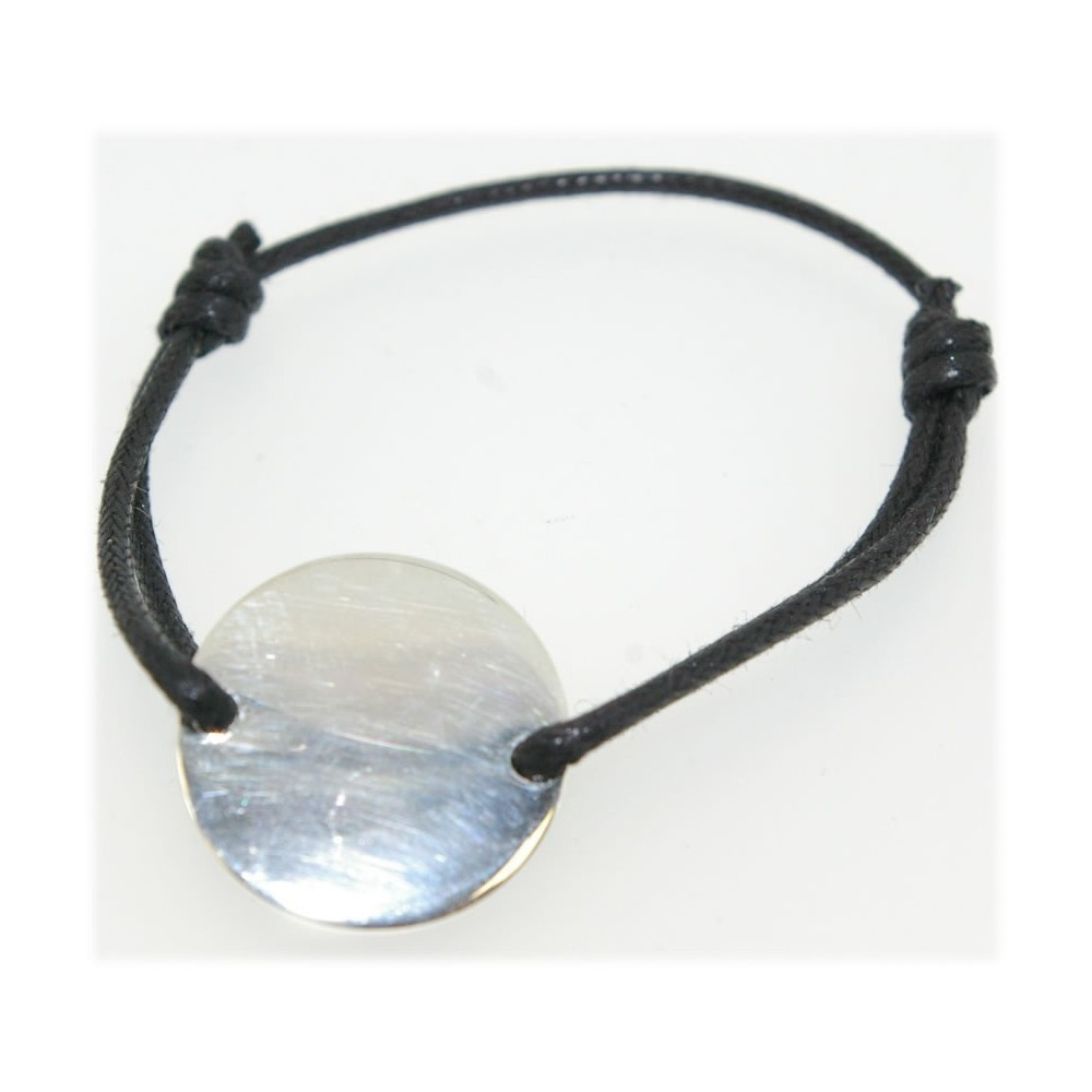 Bracelet cordon noir argent