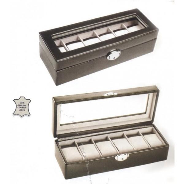 Coffret à six montres avec vitre cuir 2 couleurs disponibles