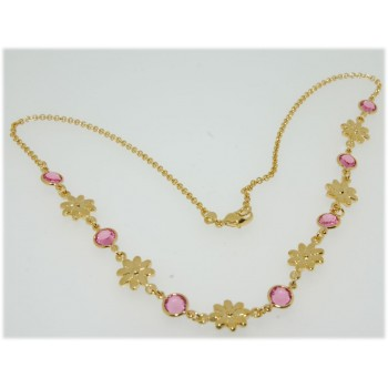 Collier plaqué or pierres rose