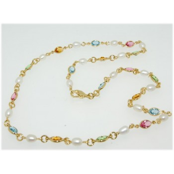 Collier plaqué or perles et pierres multicolores 45cm