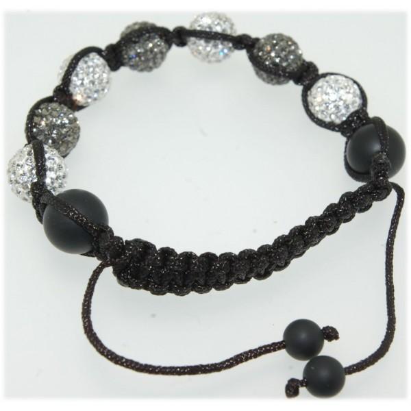 Bracelet cordon réglable boules strass noires et blanches 8mm