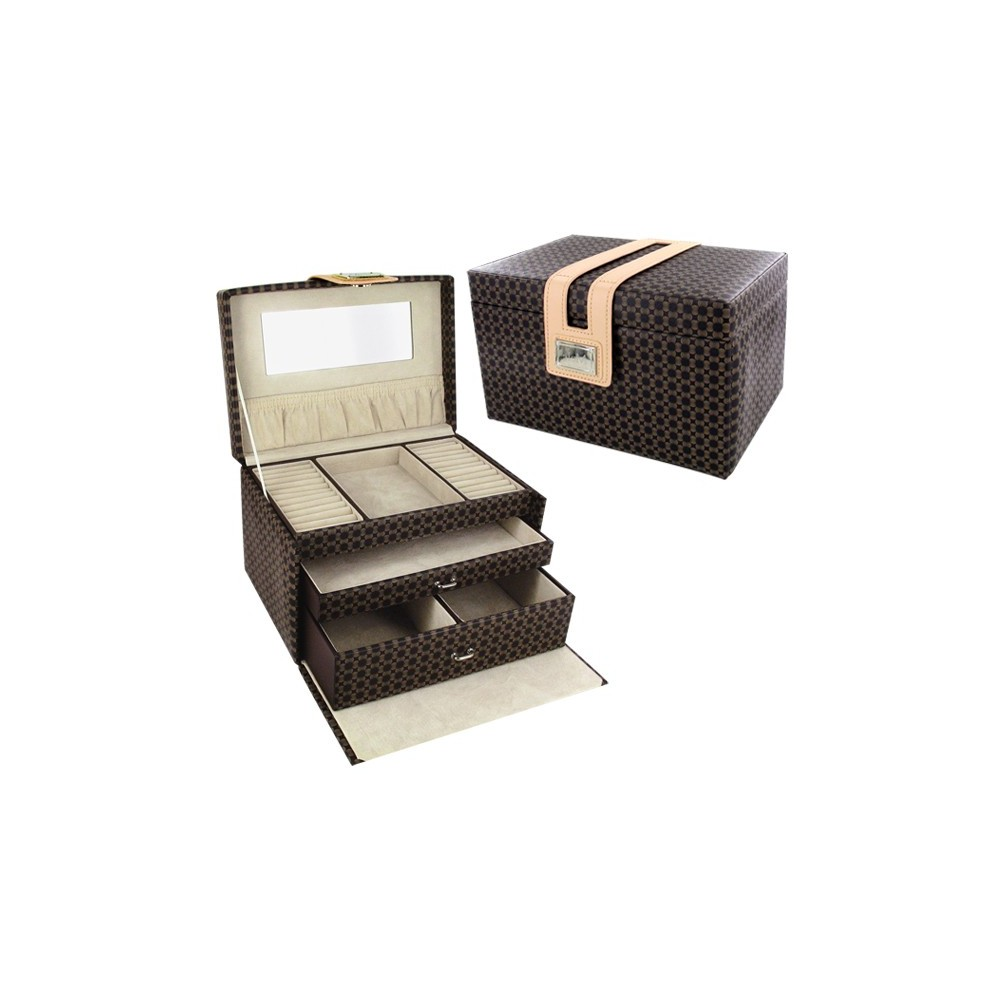 coffret bijoux luxe marron d 39 or et d 39 argent. Black Bedroom Furniture Sets. Home Design Ideas