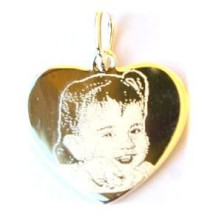 Pendentif coeur argent avec une photogravure comprise