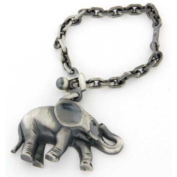 Porte clés argent élèphant