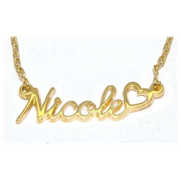 Collier prénom plaqué or avec chaîne forçat et prénom découpé au choix compris