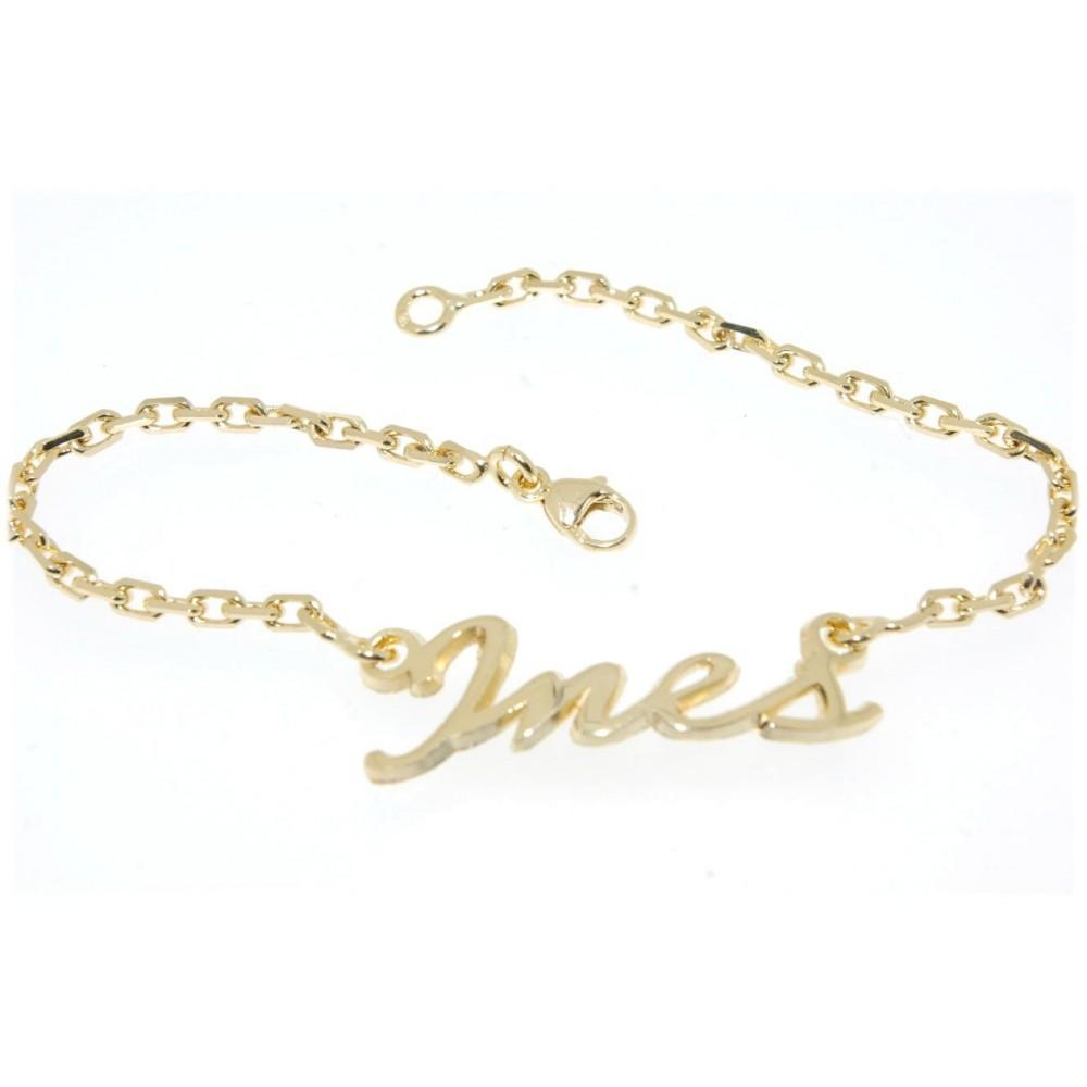 Bracelet or prénom découpé