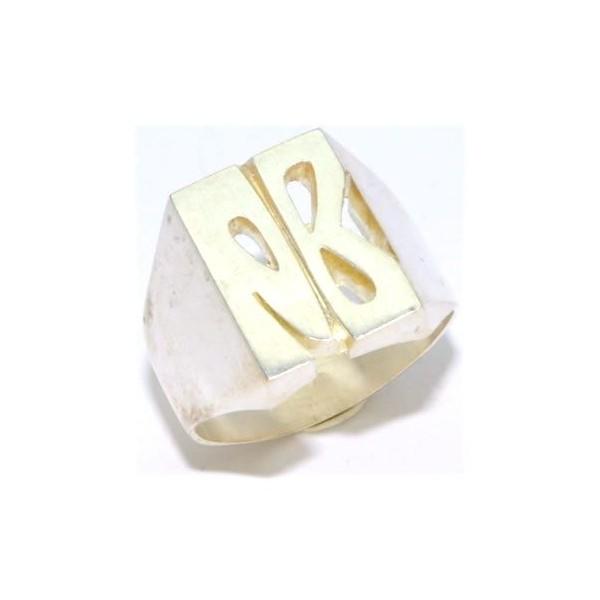 Chevalière argent  rectangulaire  initiales découpées comprises