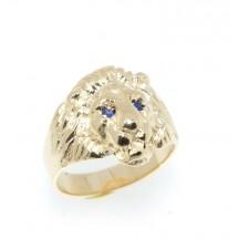 Chevalière plaqué or lion avec  saphir syntétique