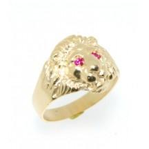 Chevalière plaqué or lion avec  rubis syntétique