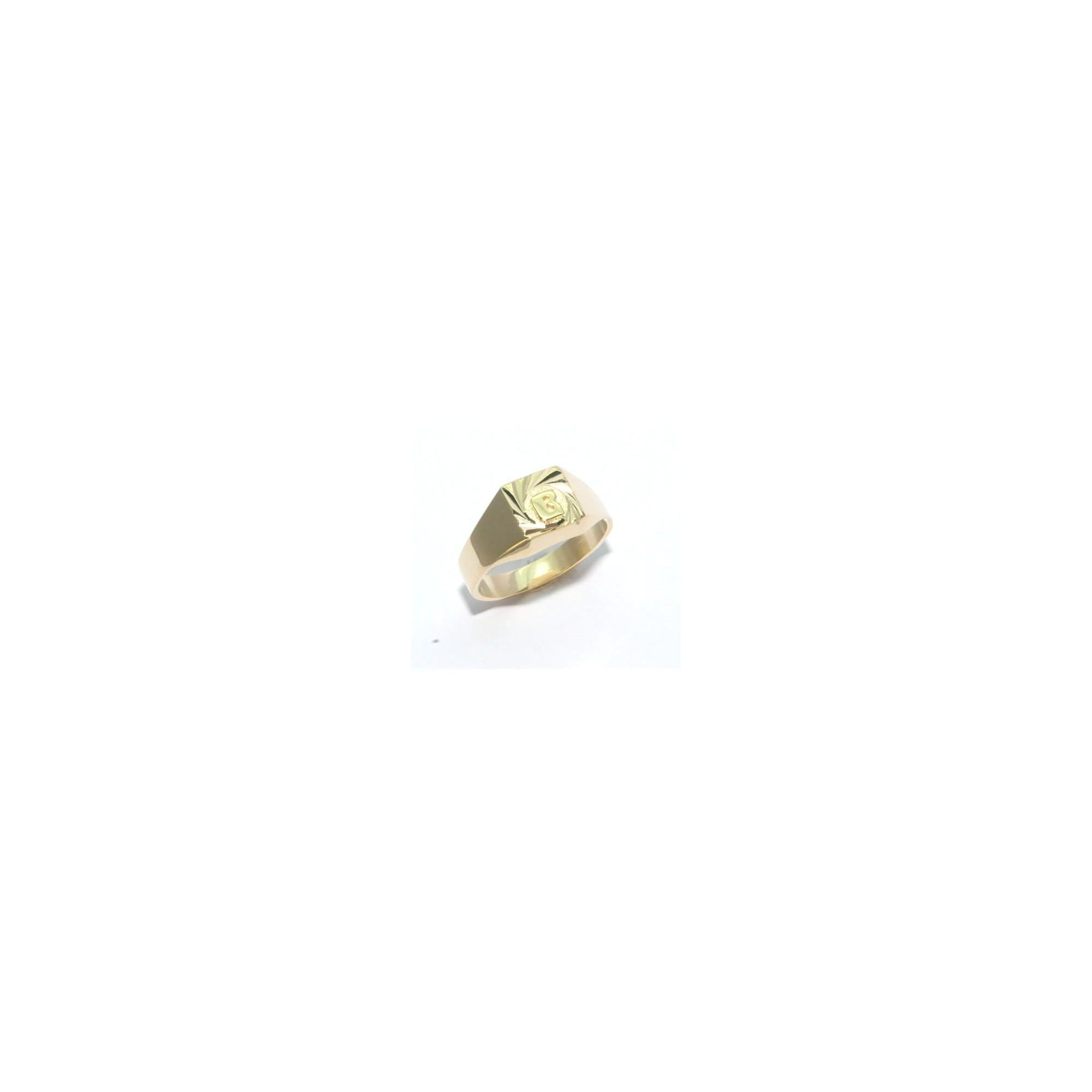 le dernier be0a0 5ec54 Chevalière plaqué or carrée lapidée avec une initiale