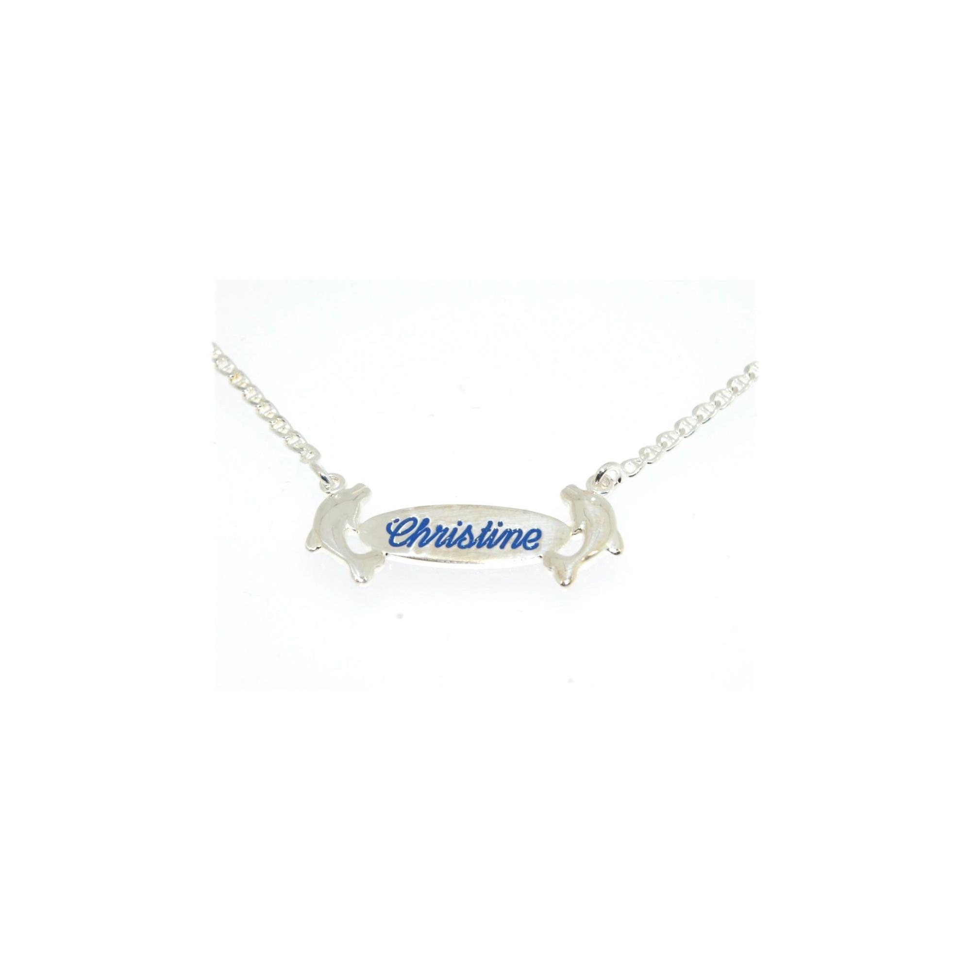 style moderne vente chaude en ligne grande variété de modèles Collier prénom argent dauphins avec gravure au choix