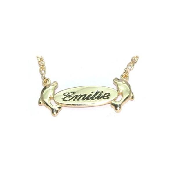 Collier prénom plaqué or  avec chaîne barrette et prénom gravé au choix compris