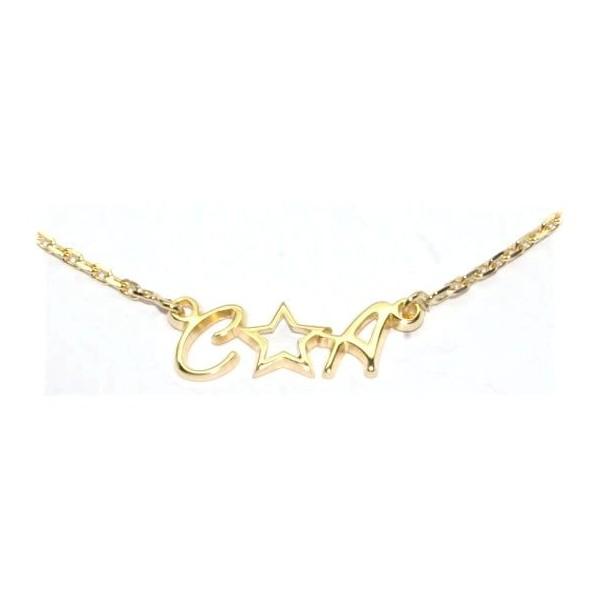 Collier prénom plaqué or 40cm avec chaîne forçat et deux initiales comprises au choix