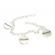 Bracelet argent breloques avec gravures comprises