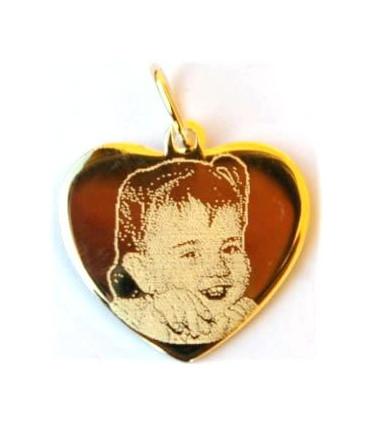 Pendentif Or coeur avec une photogravure comprise