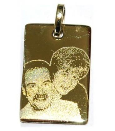 Pendentif plaque en or avec deux photogravures comprises