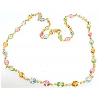 Collier plaqué or pierres multicolores 45cm