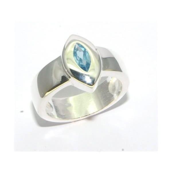 Bague argent   pierre bleue synthétique