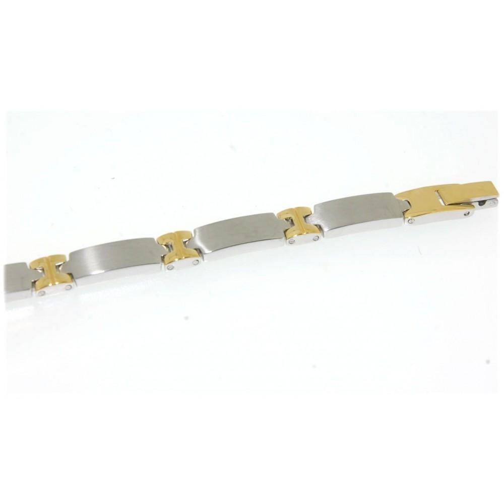 Bracelet homme acier bicolore