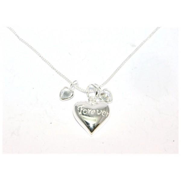 Collier argent 925/1000e coeur forever avec chaîne gourmette  40cm 3.70grs