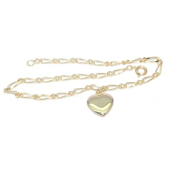 Chaîne cheville plaqué or avec motif coeur 24cm