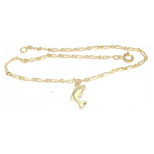 Chaîne cheville plaqué or avec motif dauphin 24cm