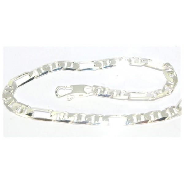 Bracelet argent maille marine diamantée