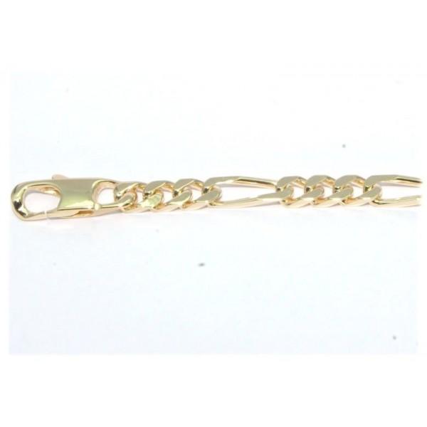 Bracelet plaqué or maille figaro 1+3  4 mm 18cm
