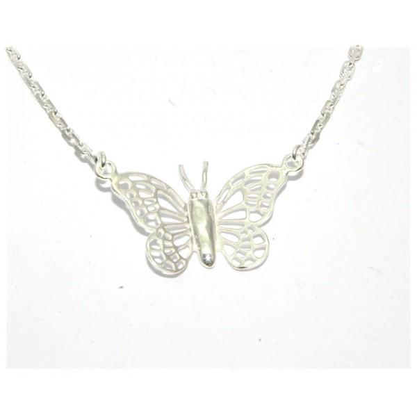 Collier argent 925/1000e papillon avec chaîne forçat 40cm 7.80grs