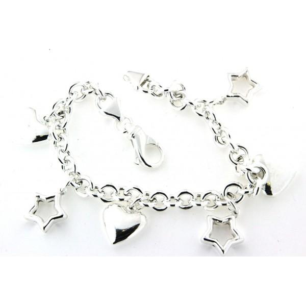 Bracelet argent breloques coeurs et étoilles