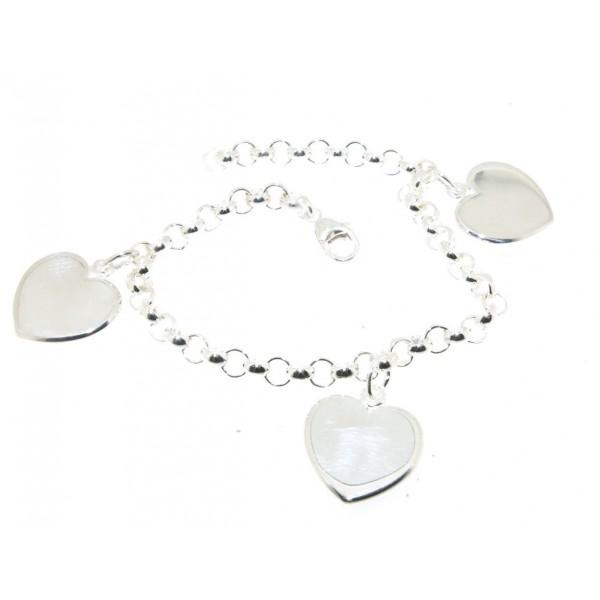 Bracelet argent avec trois coeurs  gravées