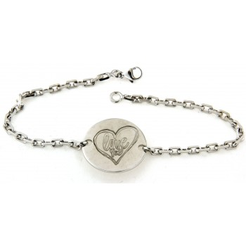 "Bracelet en argent ""I love you"" +coeur"