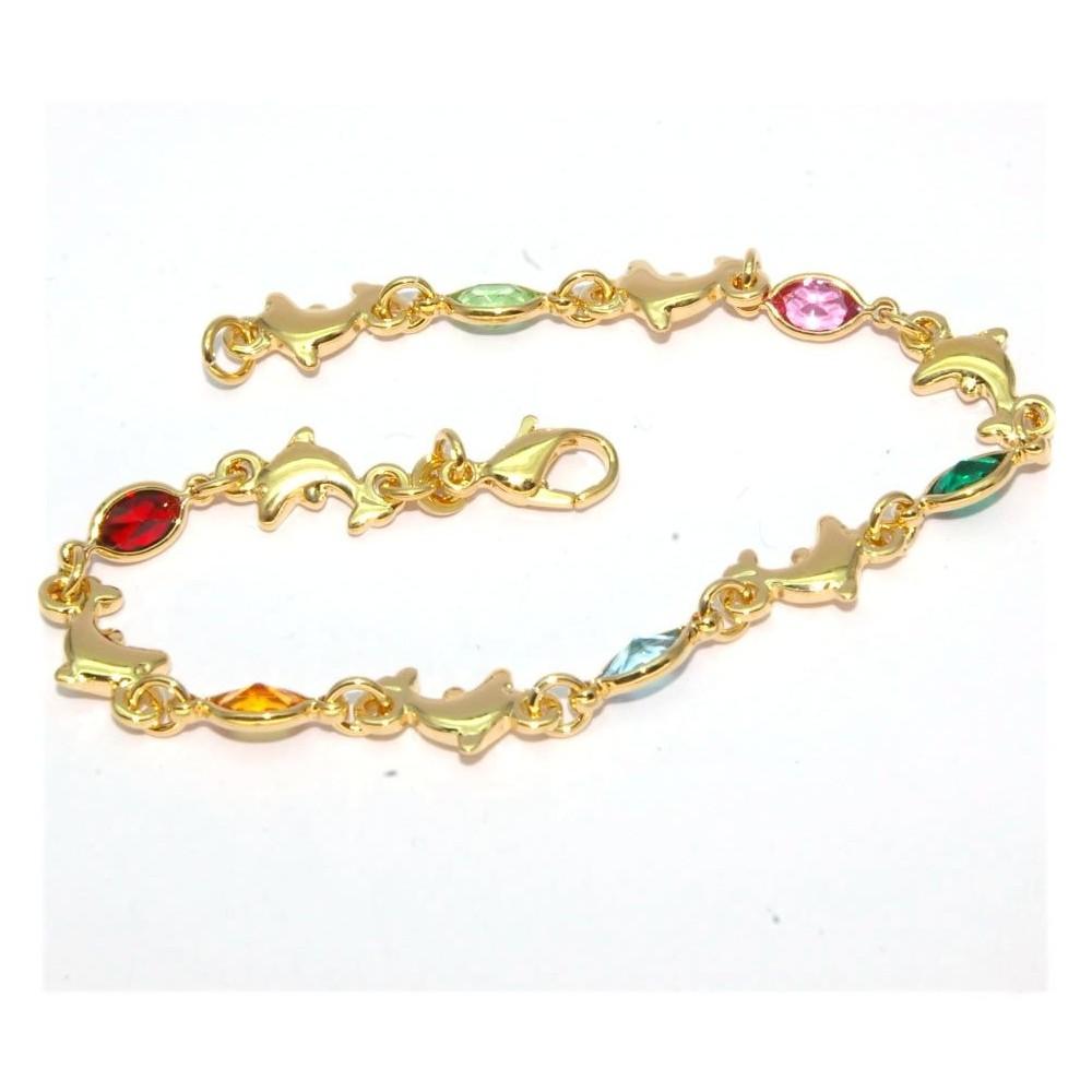 bracelet plaqu or avec dauphins et pierres multicolors d 39 or et d 39 argent. Black Bedroom Furniture Sets. Home Design Ideas