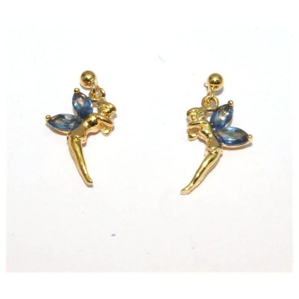 Boucles d'oreilles plaqué or elfe avec pierres bleue