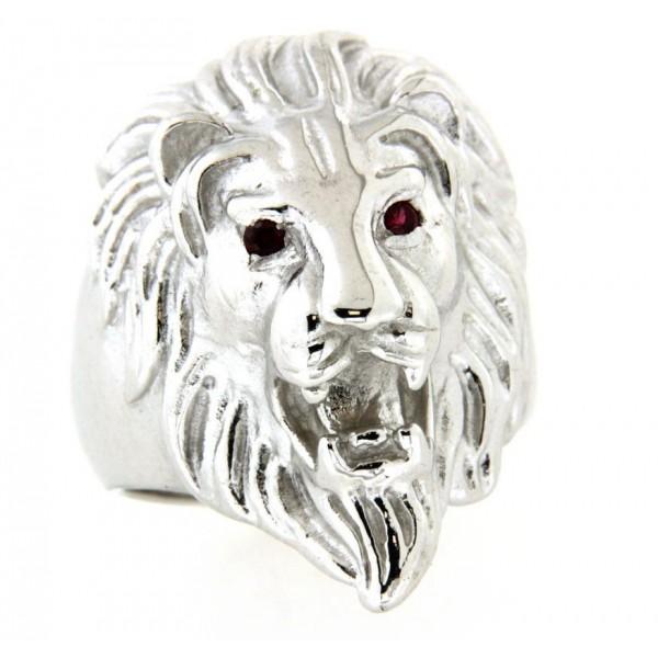 chevali re argent lion avec rubis synth tiques d 39 or et d 39 argent. Black Bedroom Furniture Sets. Home Design Ideas