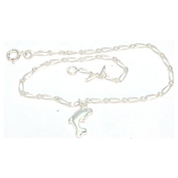 Chaîne cheville argent  24cm avec motif dauphin