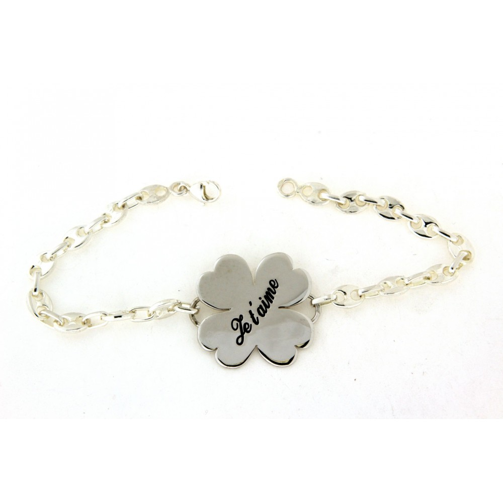 Bracelet porte bonheur en argent avec gravure d 39 or et d 39 argent - Porte bonheur argent richesse ...